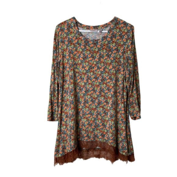 LOGO layers brown floral lace hem tunic top L